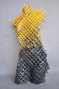 Keramik-skulptur: Torso schwarz und gelb